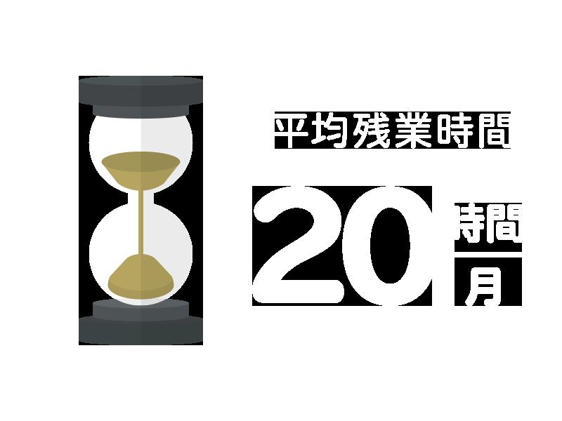 平均残業時間:月20時間